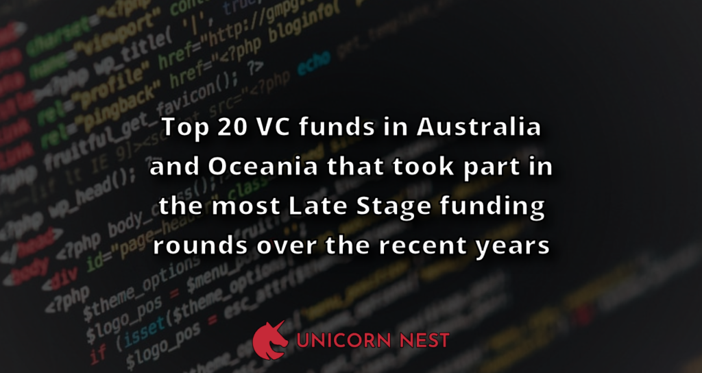 Top 20 VC funds in Australia and Oceania that took part in the most Late Stage funding rounds over the recent years