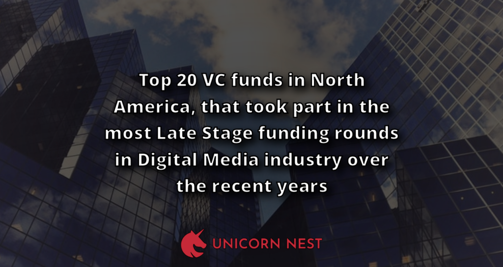 Top 20 VC funds in North America, that took part in the most Late Stage funding rounds in Digital Media industry over the recent years