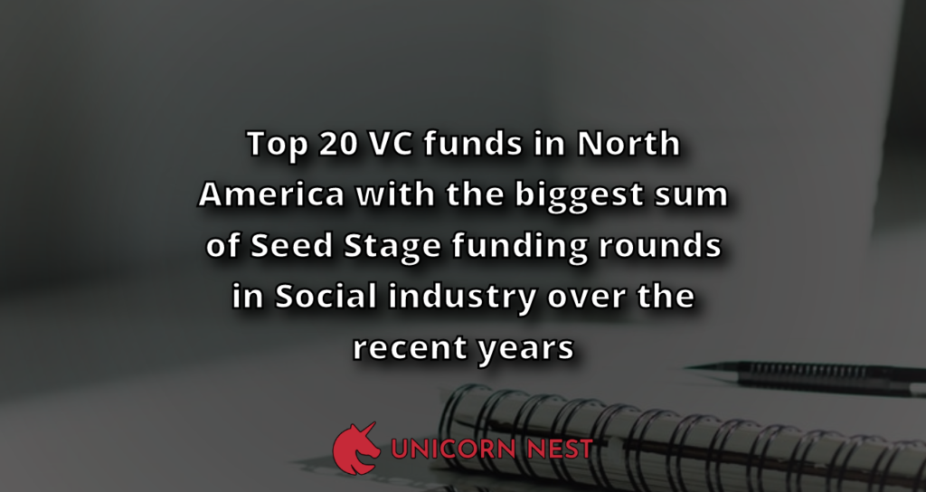 Top 20 VC funds in North America with the biggest sum of Seed Stage funding rounds in Social industry over the recent years