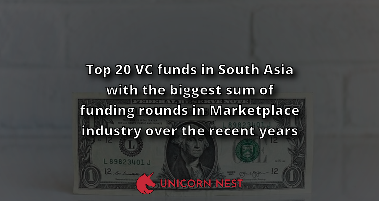 Top 20 VC funds in South Asia with the biggest sum of funding rounds in Marketplace industry over the recent years