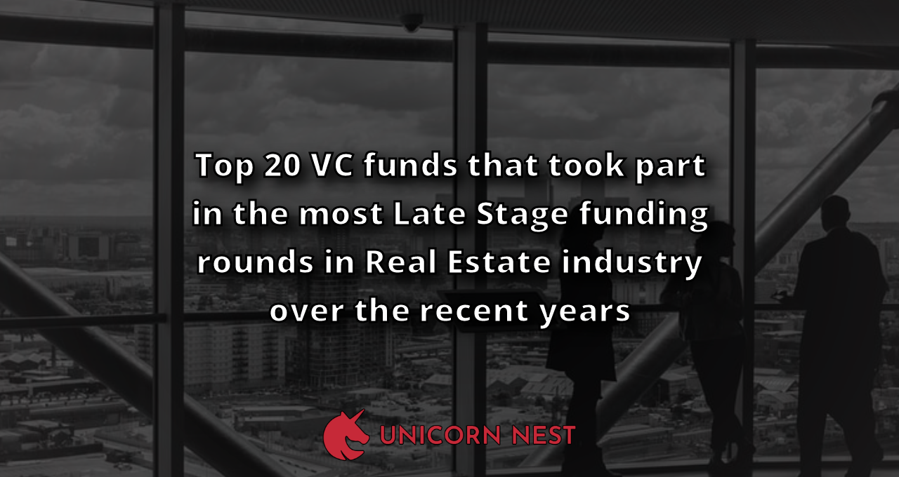 Top 20 VC funds that took part in the most Late Stage funding rounds in Real Estate industry over the recent years