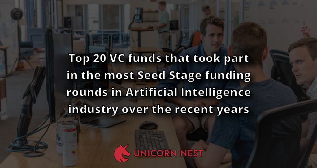 Top 20 VC funds that took part in the most Seed Stage funding rounds in Artificial Intelligence industry over the recent years