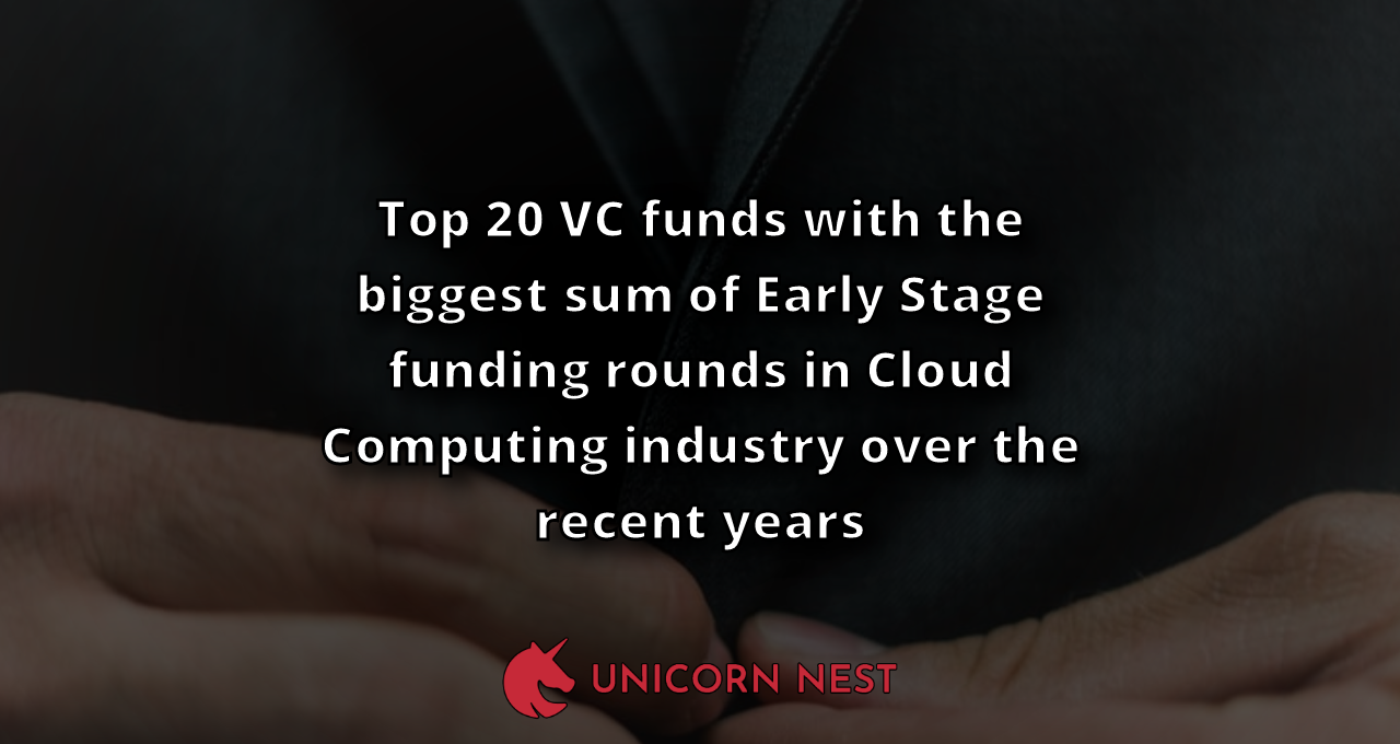 Top 20 VC funds with the biggest sum of Early Stage funding rounds in Cloud Computing industry over the recent years