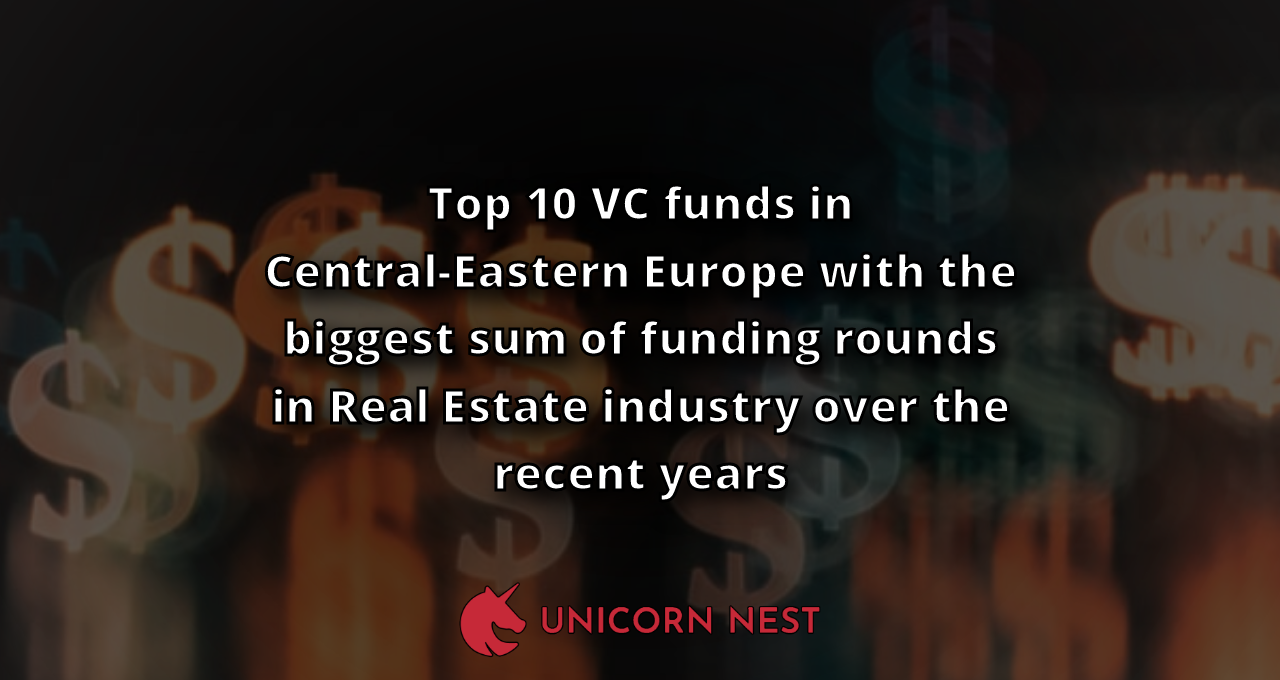 Top 10 VC funds in Central-Eastern Europe with the biggest sum of funding rounds in Real Estate industry over the recent years