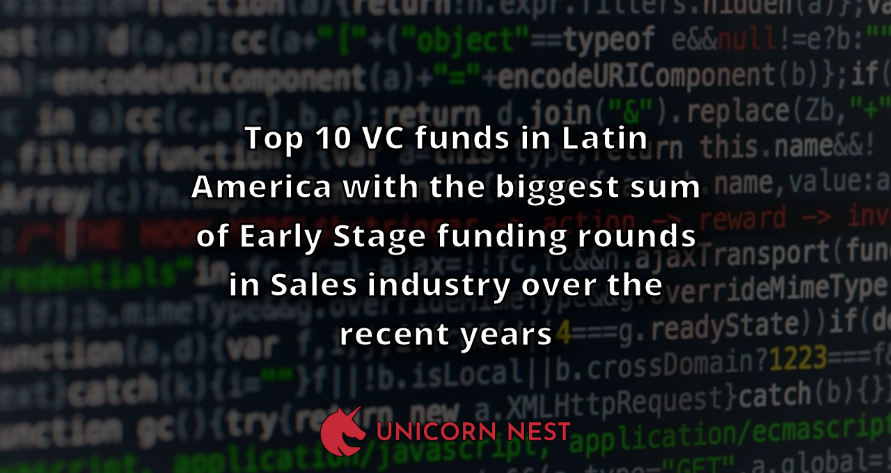 Top 10 VC funds in Latin America with the biggest sum of Early Stage funding rounds in Sales industry over the recent years
