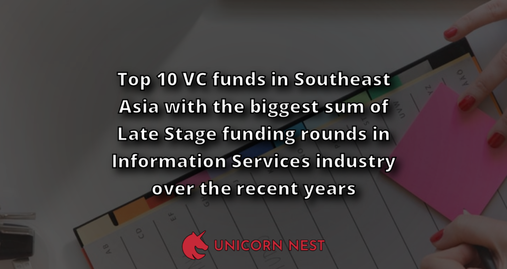 Top 10 VC funds in Southeast Asia with the biggest sum of Late Stage funding rounds in Information Services industry over the recent years