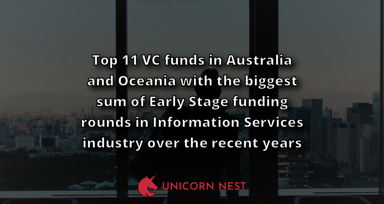 Top 11 VC funds in Australia and Oceania with the biggest sum of Early Stage funding rounds in Information Services industry over the recent years