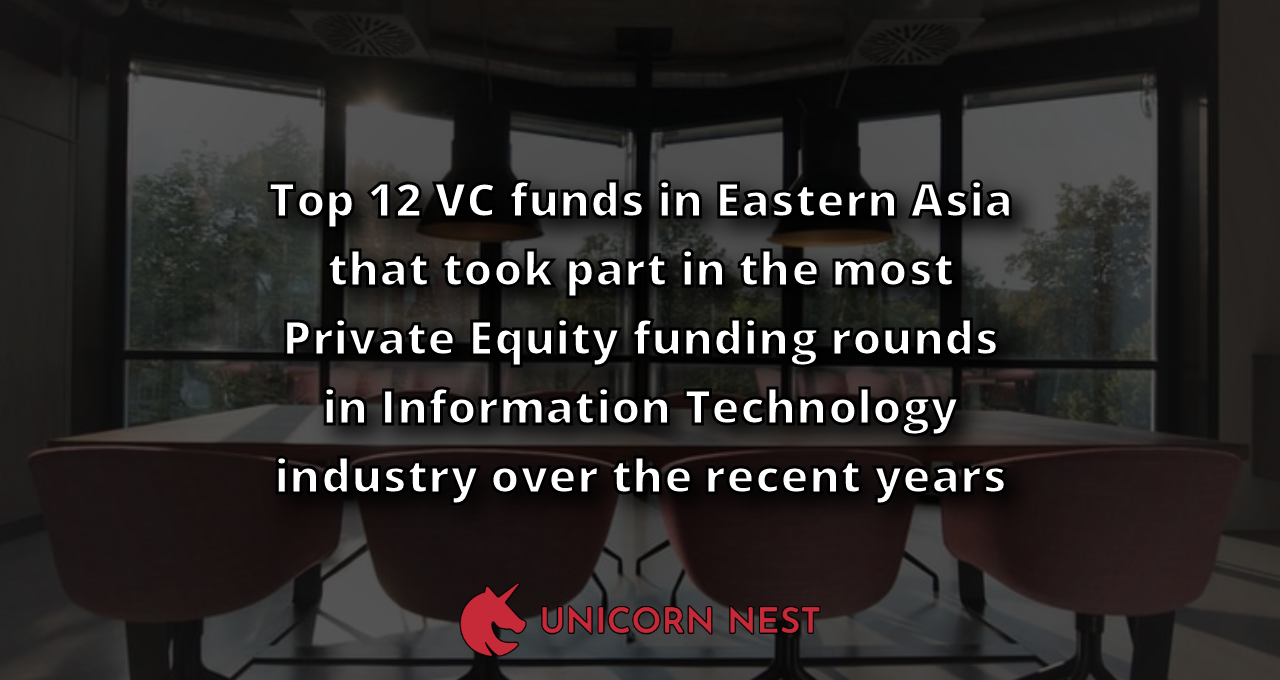 Top 12 VC funds in Eastern Asia that took part in the most Private Equity funding rounds in Information Technology industry over the recent years