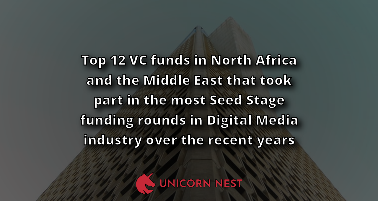 Top 12 VC funds in North Africa and the Middle East that took part in the most Seed Stage funding rounds in Digital Media industry over the recent years