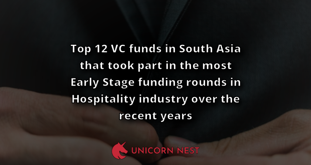 Top 12 VC funds in South Asia that took part in the most Early Stage funding rounds in Hospitality industry over the recent years