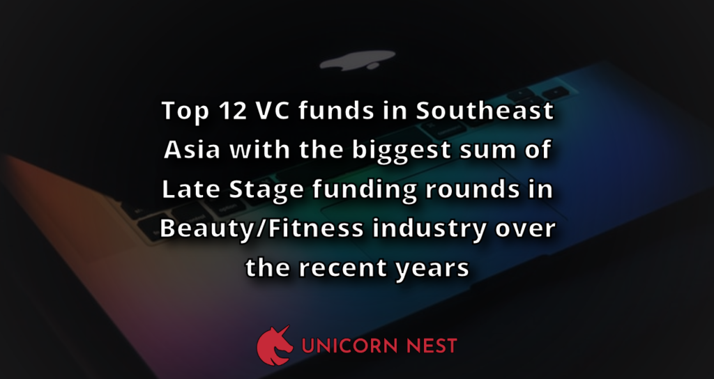 Top 12 VC funds in Southeast Asia with the biggest sum of Late Stage funding rounds in Beauty/Fitness industry over the recent years