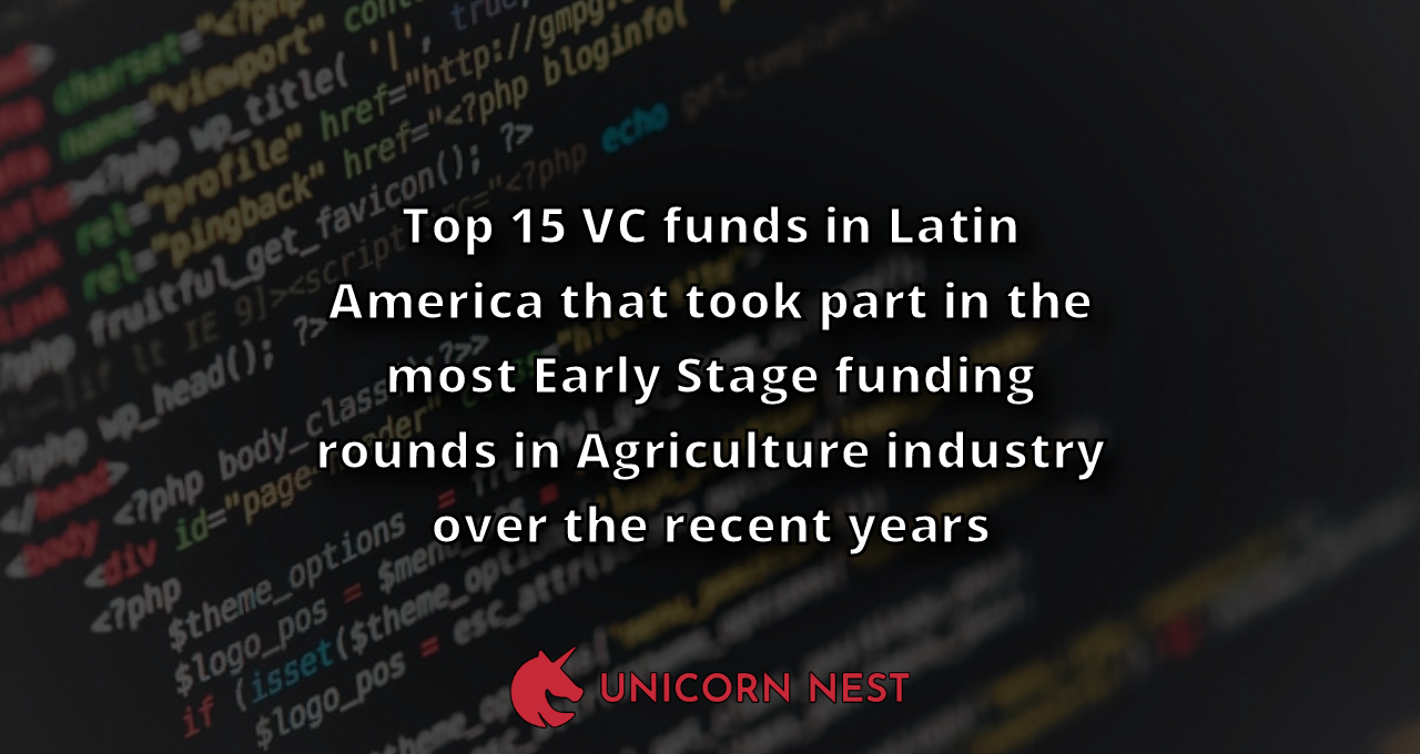 Top 15 VC funds in Latin America that took part in the most Early Stage funding rounds in Agriculture industry over the recent years