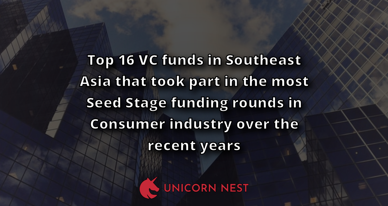 Top 16 VC funds in Southeast Asia that took part in the most Seed Stage funding rounds in Consumer industry over the recent years