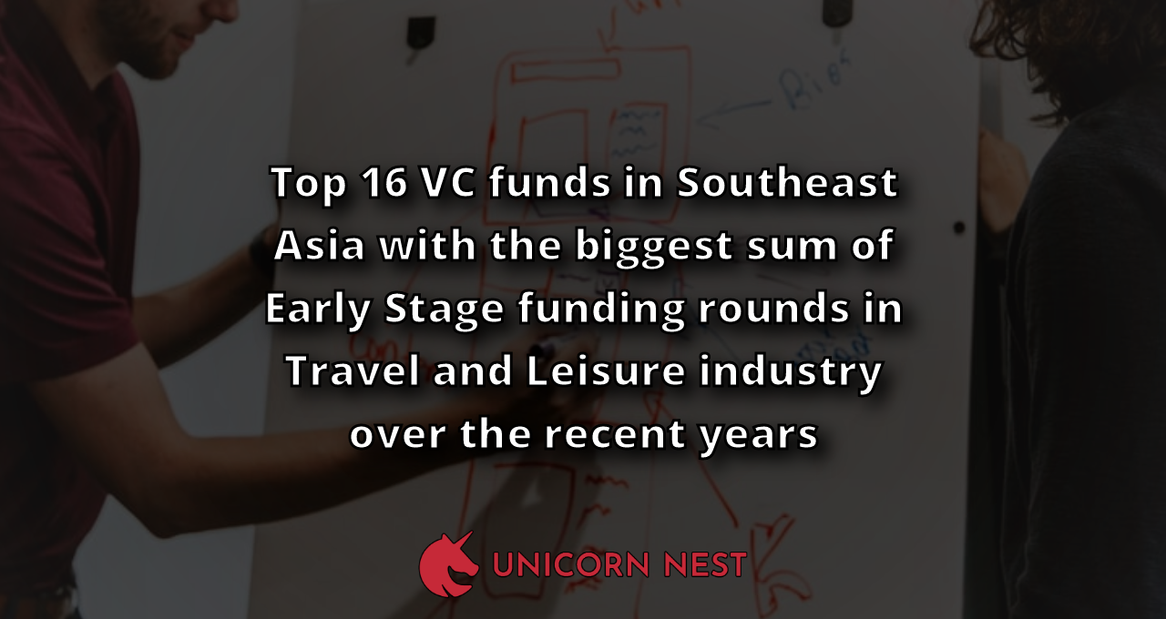 Top 16 VC funds in Southeast Asia with the biggest sum of Early Stage funding rounds in Travel and Leisure industry over the recent years