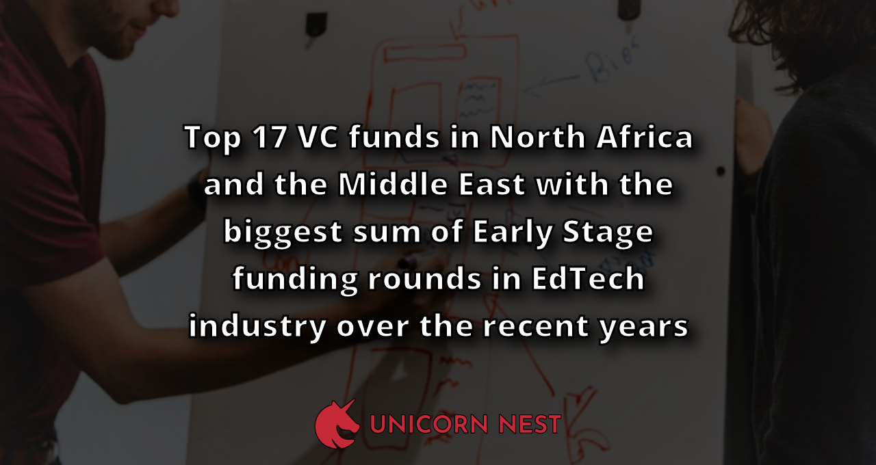 Top 17 VC funds in North Africa and the Middle East with the biggest sum of Early Stage funding rounds in EdTech industry over the recent years