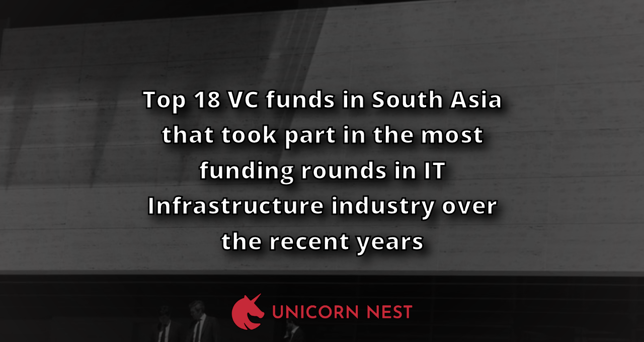 Top 18 VC funds in South Asia that took part in the most funding rounds in IT Infrastructure industry over the recent years