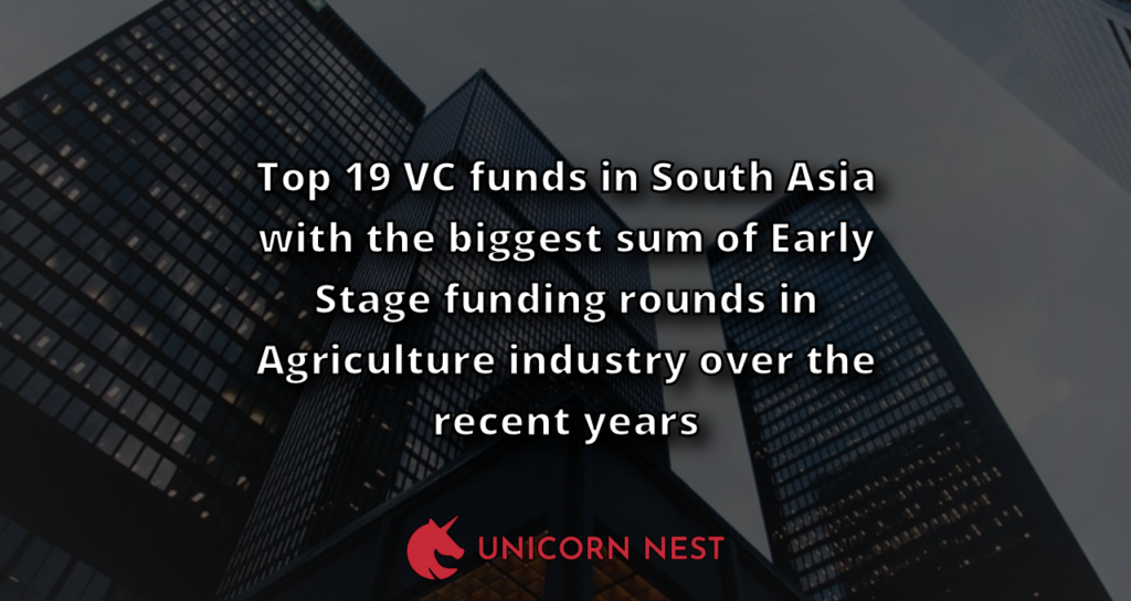 Top 19 VC funds in South Asia with the biggest sum of Early Stage funding rounds in Agriculture industry over the recent years