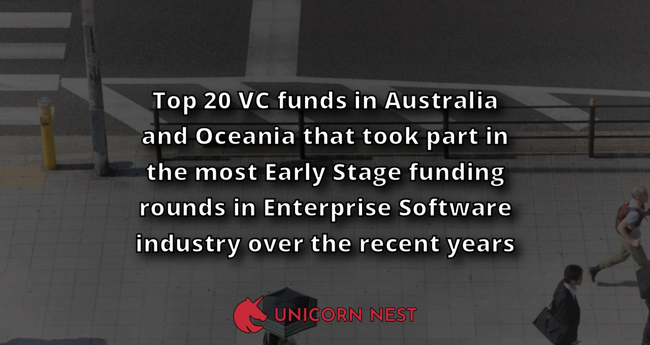 Top 20 VC funds in Australia and Oceania that took part in the most Early Stage funding rounds in Enterprise Software industry over the recent years
