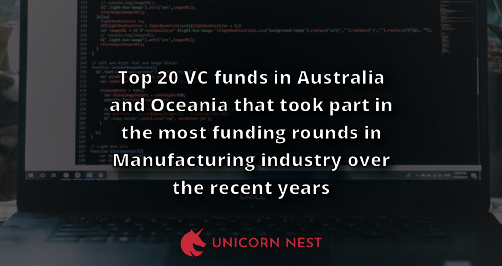Top 20 VC funds in Australia and Oceania that took part in the most funding rounds in Manufacturing industry over the recent years