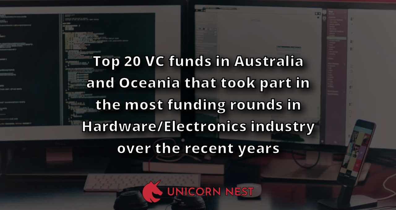 Top 20 VC funds in Australia and Oceania that took part in the most funding rounds in Hardware/Electronics industry over the recent years