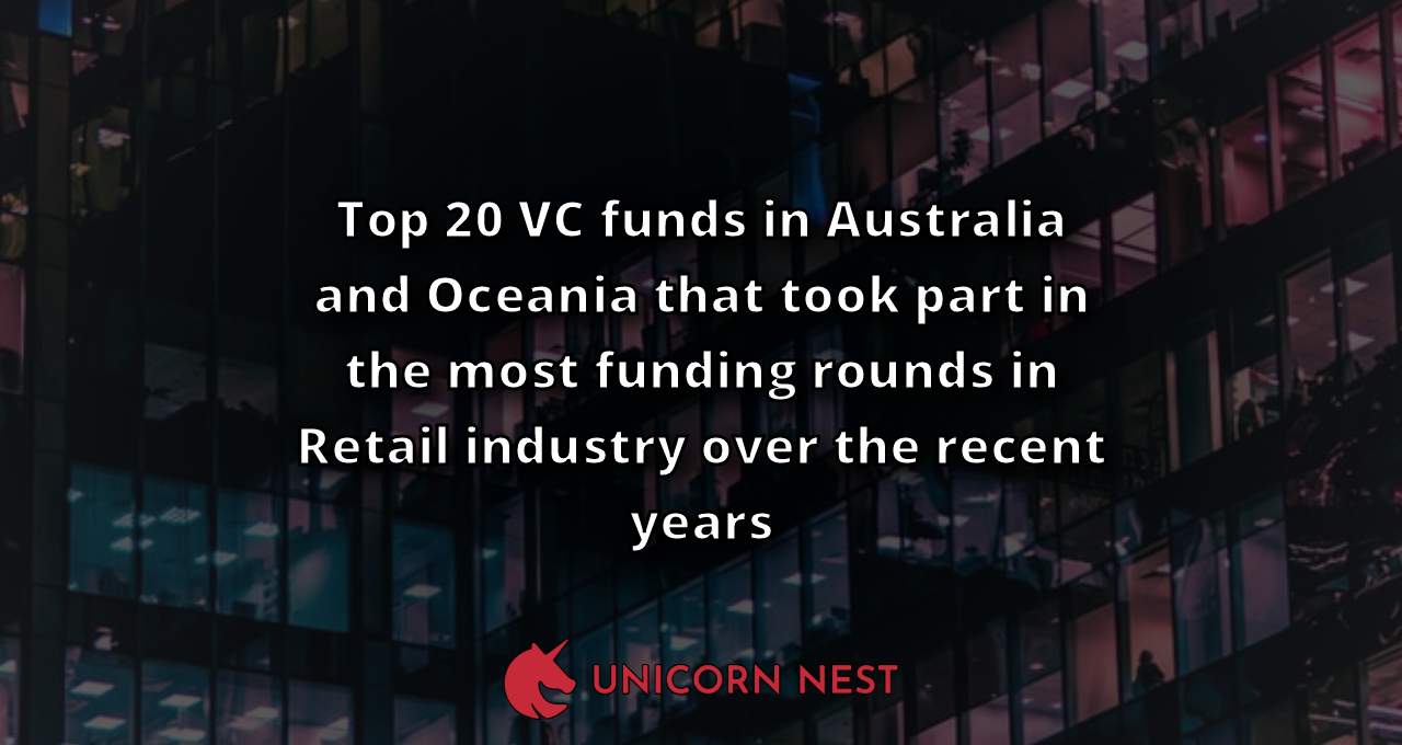 Top 20 VC funds in Australia and Oceania that took part in the most funding rounds in Retail industry over the recent years