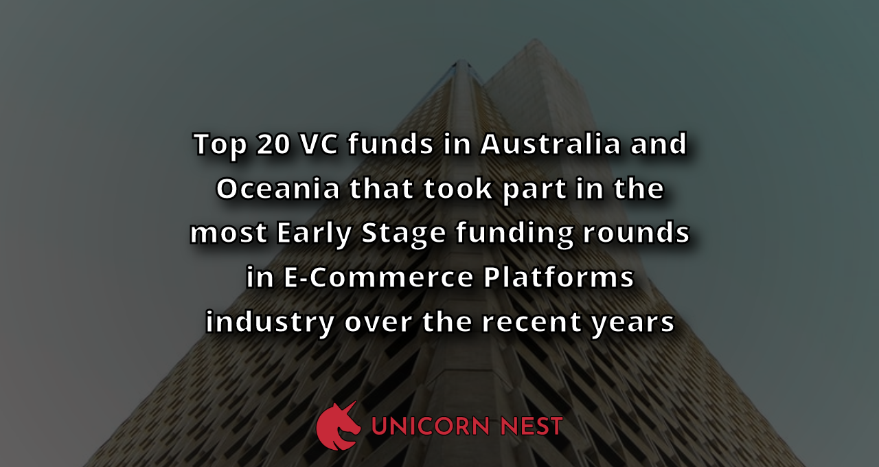 Top 20 VC funds in Australia and Oceania that took part in the most Early Stage funding rounds in E-Commerce Platforms industry over the recent years