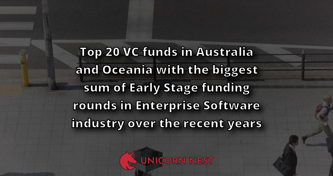 Top 20 VC funds in Australia and Oceania with the biggest sum of Early Stage funding rounds in Enterprise Software industry over the recent years