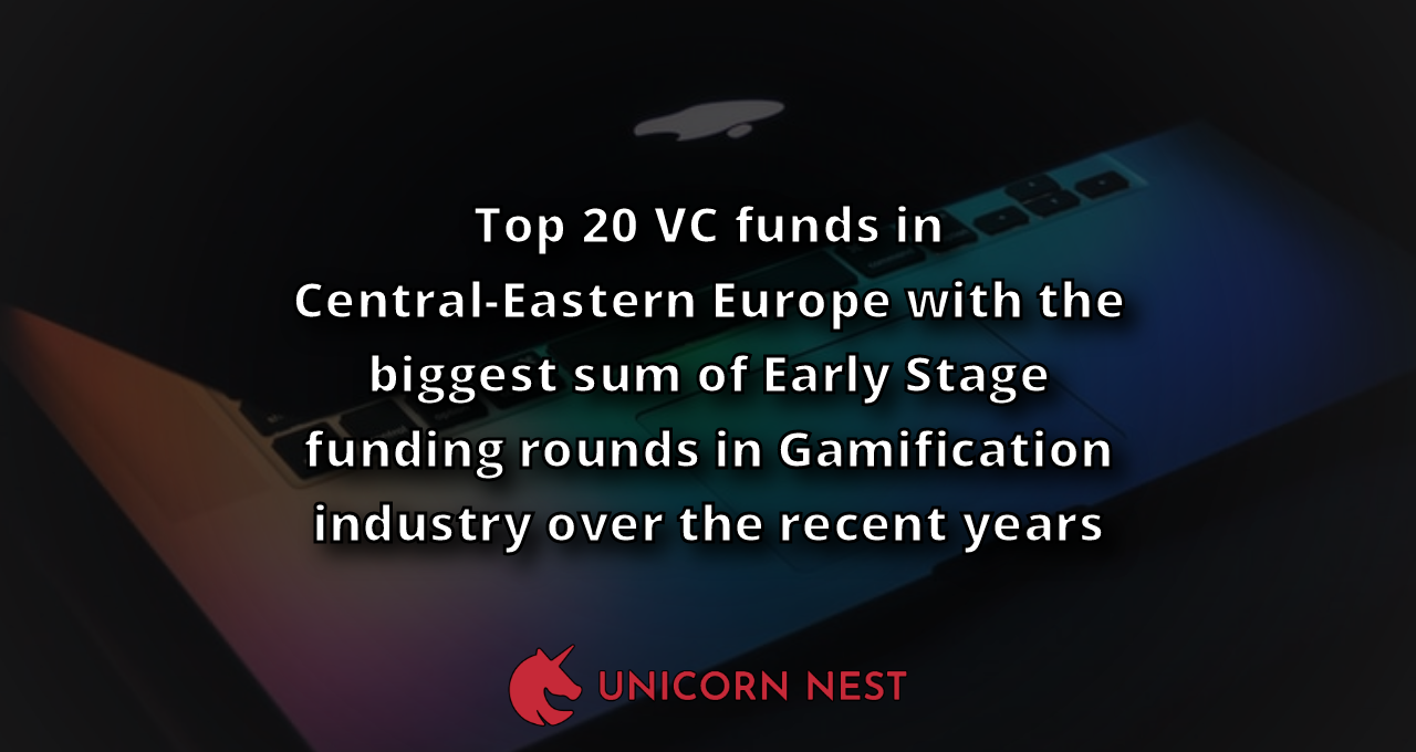 Top 20 VC funds in Central-Eastern Europe with the biggest sum of Early Stage funding rounds in Gamification industry over the recent years