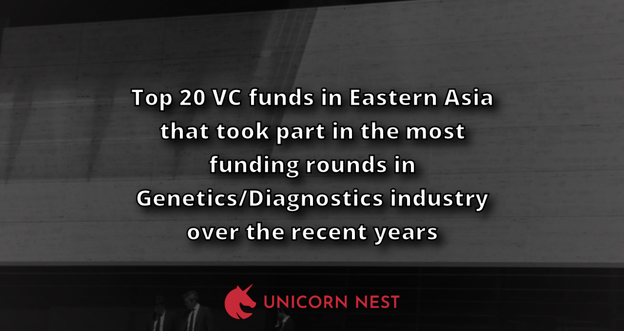 Top 20 VC funds in Eastern Asia that took part in the most funding rounds in Genetics/Diagnostics industry over the recent years
