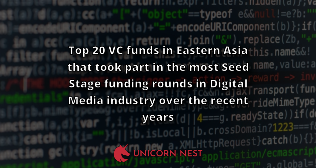 Top 20 VC funds in Eastern Asia that took part in the most Seed Stage funding rounds in Digital Media industry over the recent years