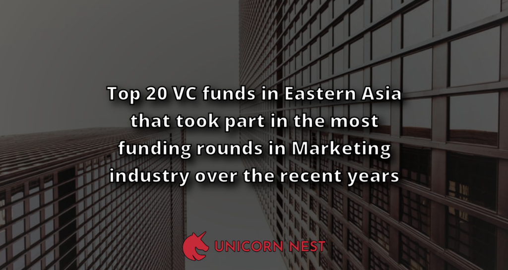 Top 20 VC funds in Eastern Asia that took part in the most funding rounds in Marketing industry over the recent years