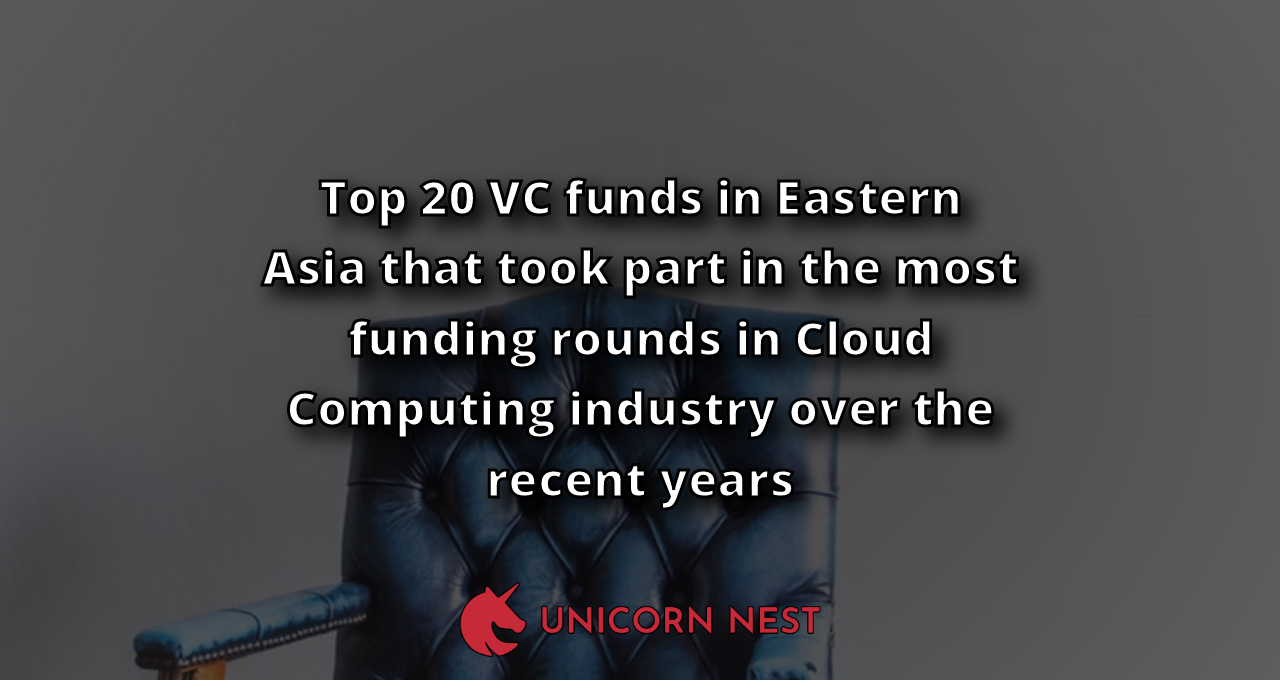 Top 20 VC funds in Eastern Asia that took part in the most funding rounds in Cloud Computing industry over the recent years