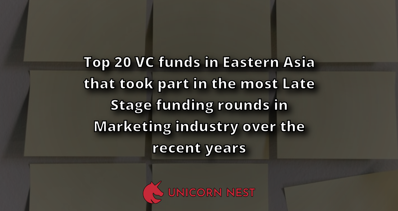 Top 20 VC funds in Eastern Asia that took part in the most Late Stage funding rounds in Marketing industry over the recent years