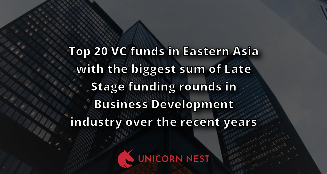 Top 20 VC funds in Eastern Asia with the biggest sum of Late Stage funding rounds in Business Development industry over the recent years