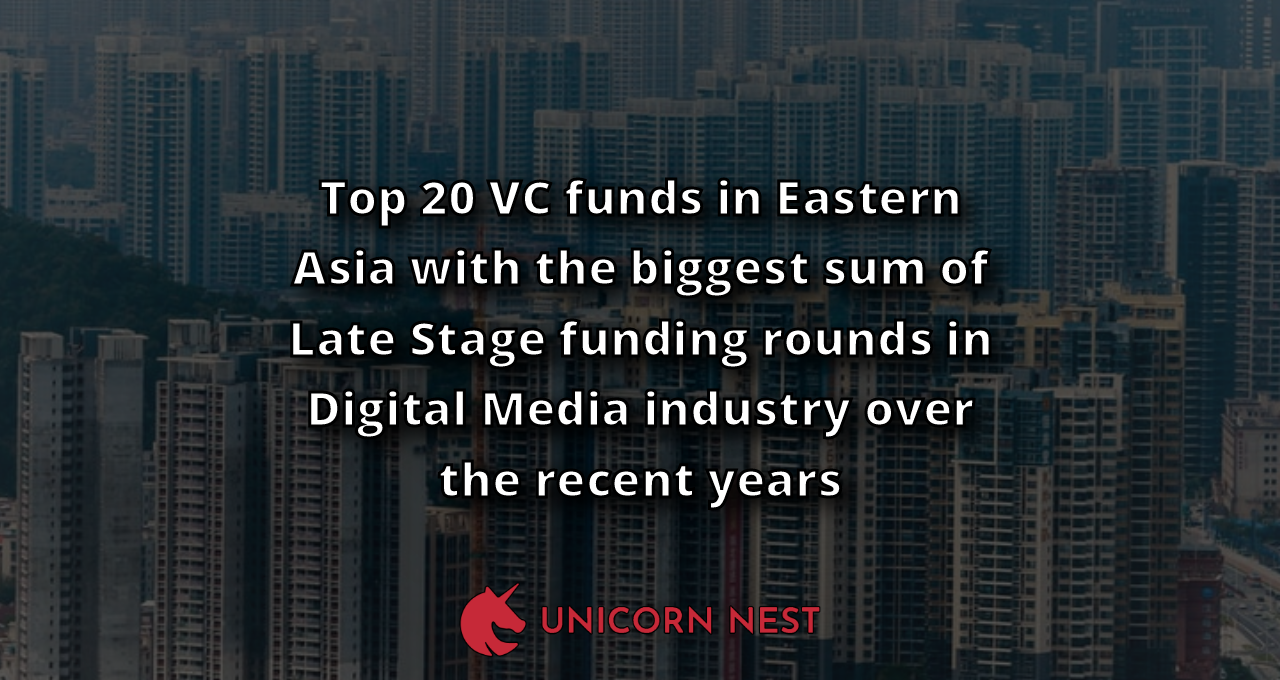 Top 20 VC funds in Eastern Asia with the biggest sum of Late Stage funding rounds in Digital Media industry over the recent years