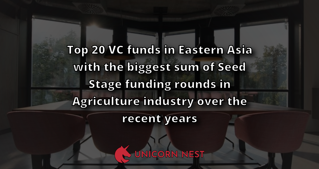 Top 20 VC funds in Eastern Asia with the biggest sum of Seed Stage funding rounds in Agriculture industry over the recent years