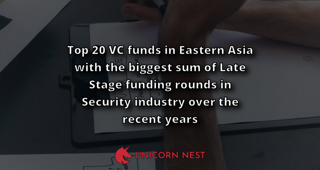 Top 20 VC funds in Eastern Asia with the biggest sum of Late Stage funding rounds in Security industry over the recent years