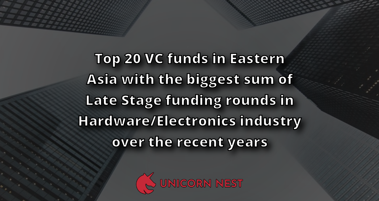 Top 20 VC funds in Eastern Asia with the biggest sum of Late Stage funding rounds in Hardware/Electronics industry over the recent years