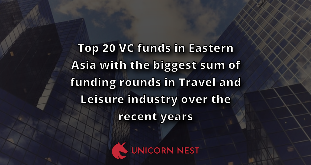 Top 20 VC funds in Eastern Asia with the biggest sum of funding rounds in Travel and Leisure industry over the recent years