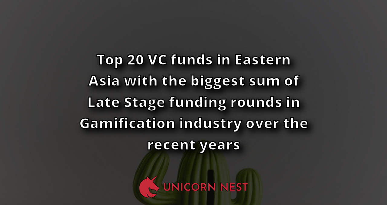 Top 20 VC funds in Eastern Asia with the biggest sum of Late Stage funding rounds in Gamification industry over the recent years