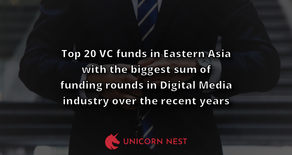 Top 20 VC funds in Eastern Asia with the biggest sum of funding rounds in Digital Media industry over the recent years