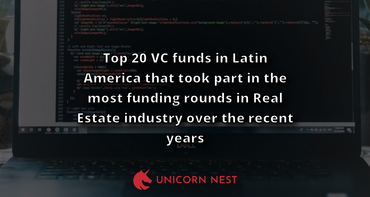 Top 20 VC funds in Latin America that took part in the most funding rounds in Real Estate industry over the recent years