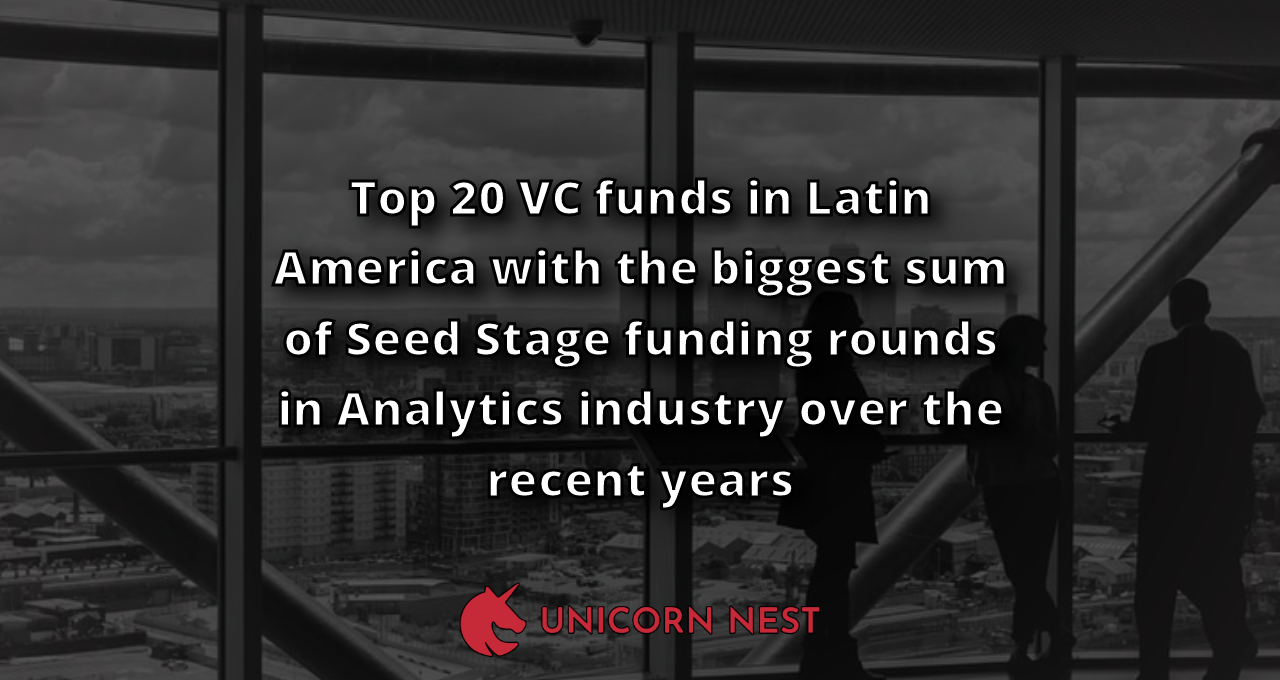 Top 20 VC funds in Latin America with the biggest sum of Seed Stage funding rounds in Analytics industry over the recent years
