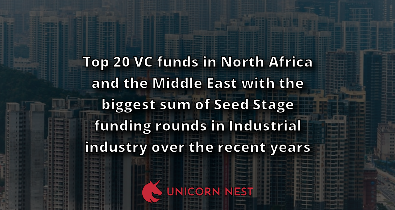 Top 20 VC funds in North Africa and the Middle East with the biggest sum of Seed Stage funding rounds in Industrial industry over the recent years