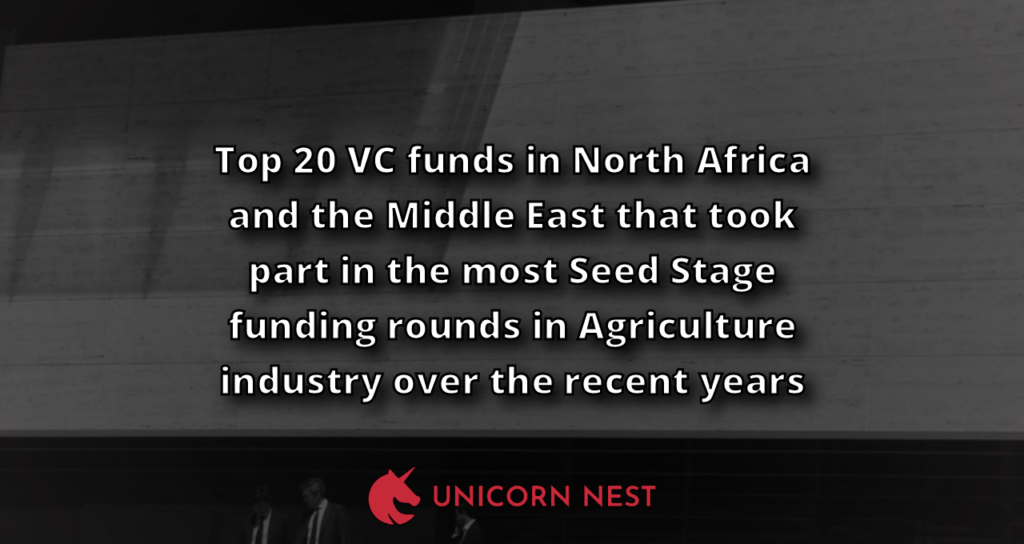 Top 20 VC funds in North Africa and the Middle East that took part in the most Seed Stage funding rounds in Agriculture industry over the recent years