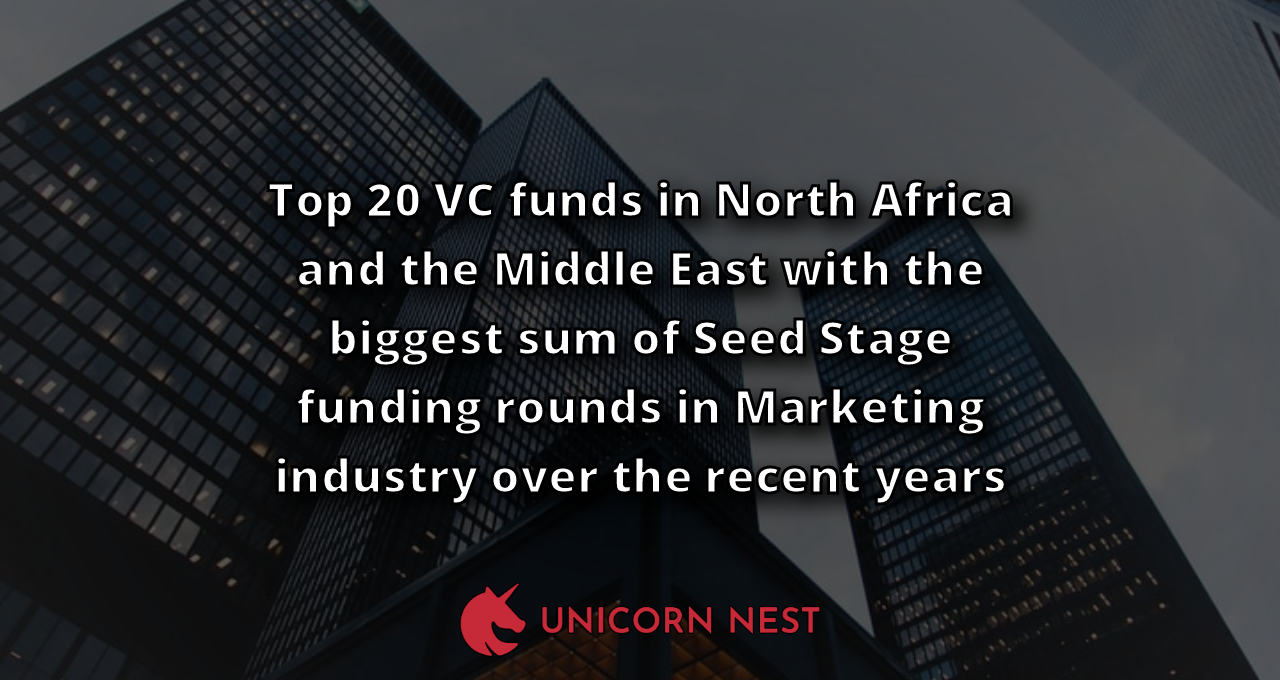 Top 20 VC funds in North Africa and the Middle East with the biggest sum of Seed Stage funding rounds in Marketing industry over the recent years