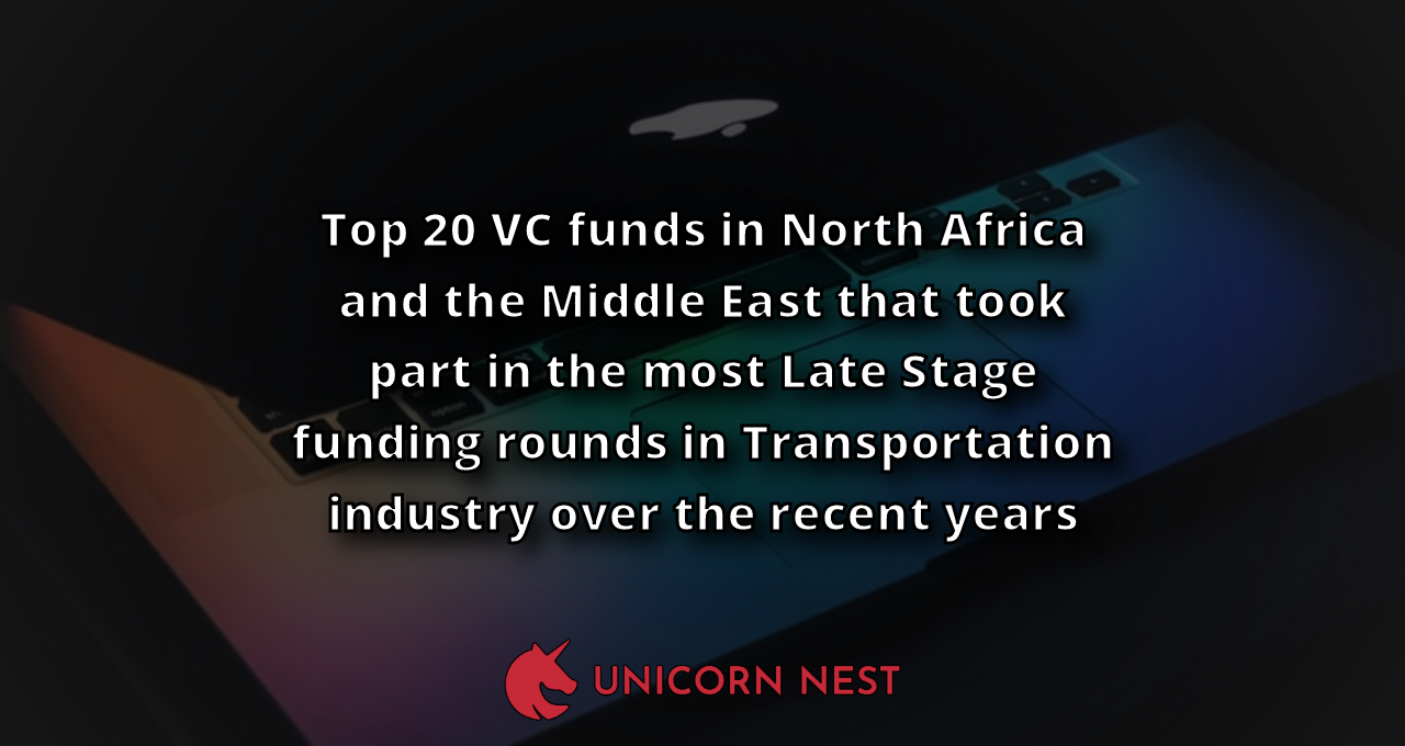 Top 20 VC funds in North Africa and the Middle East that took part in the most Late Stage funding rounds in Transportation industry over the recent years