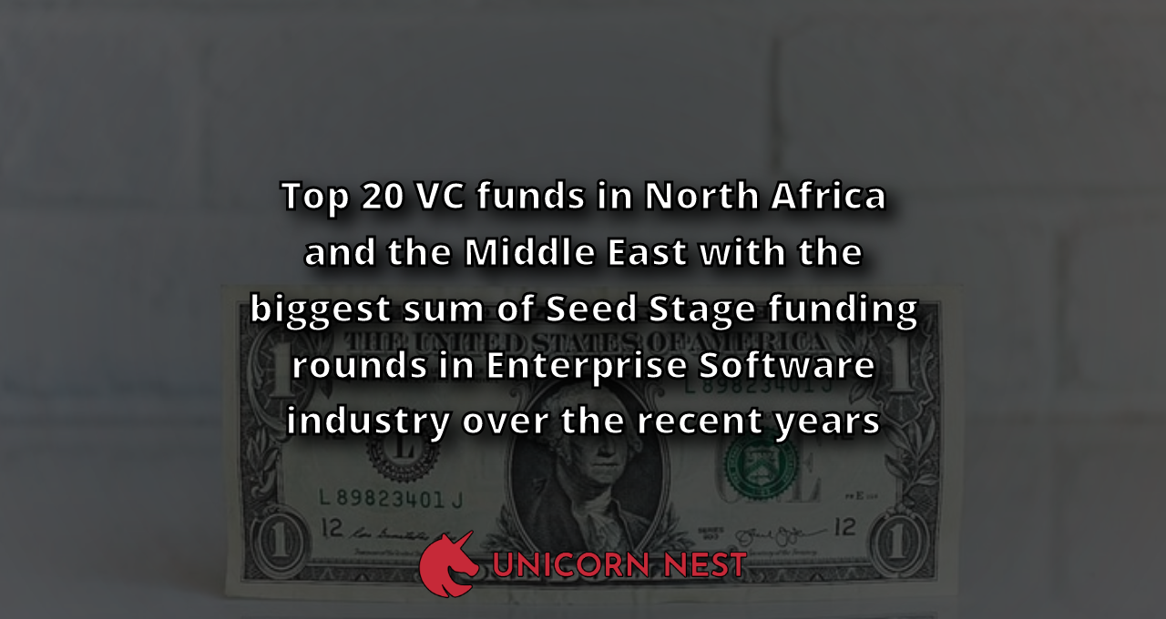 Top 20 VC funds in North Africa and the Middle East with the biggest sum of Seed Stage funding rounds in Enterprise Software industry over the recent years