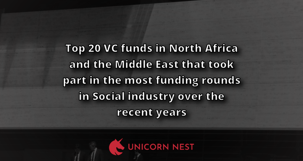 Top 20 VC funds in North Africa and the Middle East that took part in the most funding rounds in Social industry over the recent years
