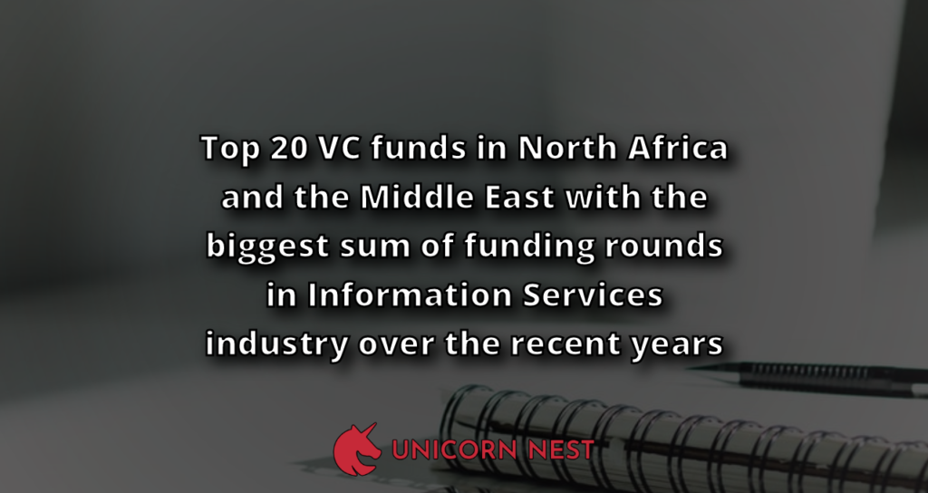 Top 20 VC funds in North Africa and the Middle East with the biggest sum of funding rounds in Information Services industry over the recent years